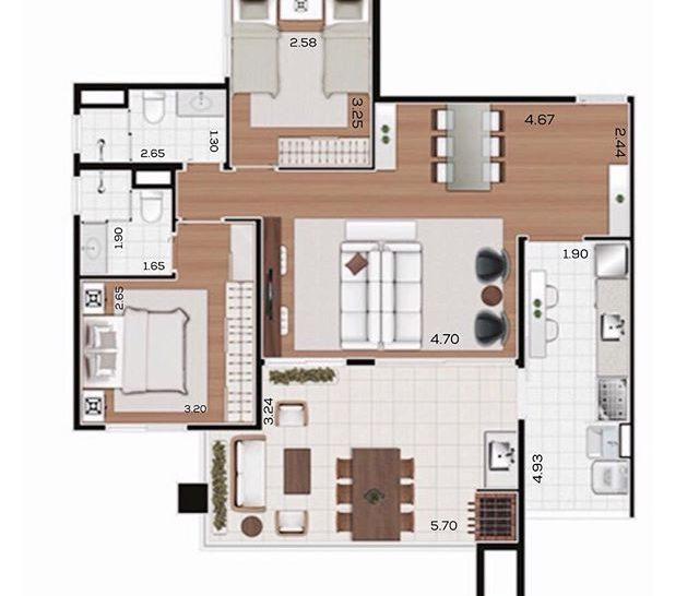 planta baixa de apartamento 90m2 varanda gourmet